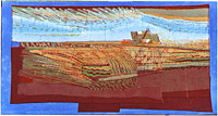A batik picture: a combine harvester surrounded by patterns of corn growing in rows and stubble. It's stitched and batiked.