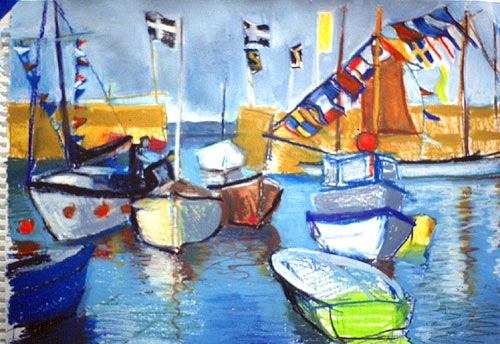 A Cornish harbour with fishing boats and flags.
