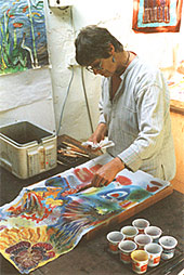 Helen Dougall working in her studio.